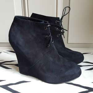 Opening ceremony suede wedge lace up ankle boot